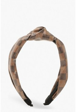 Brown Check PU Twist Knot Head Band