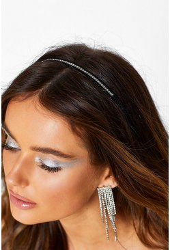 Skinny Diamante Head Band, Black, FEMMES