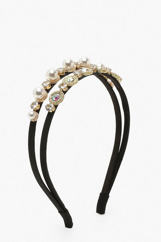 Diamante & Pearl Double Row Head Band