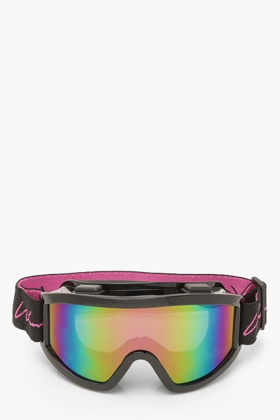 Woman Rainbow Mirror Ski Goggles and Pouch