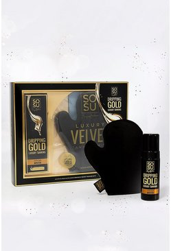 Womens Gold Sosu Ultra Dark Mousse And Tanning Mitt Gift Set