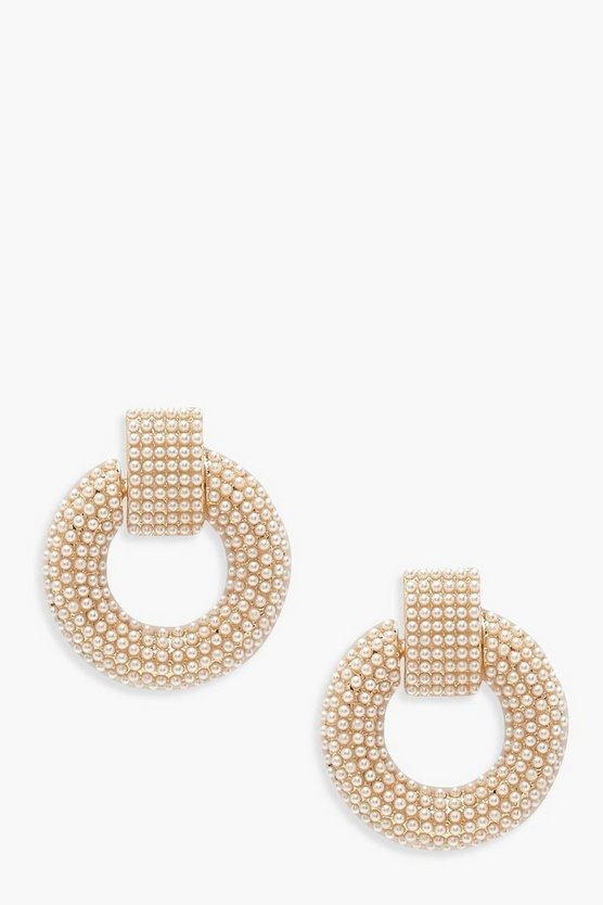 Statement Round Pearl Door Knocker Earrings