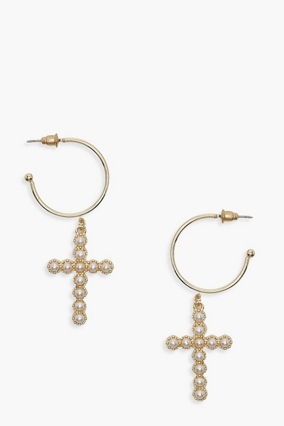 Pearl Cross Statement Earrings