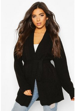 Cable Boyfriend Belted Cardigan, Black, ЖЕНСКОЕ