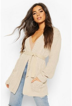 Stone Cable Boyfriend Belted Cardigan