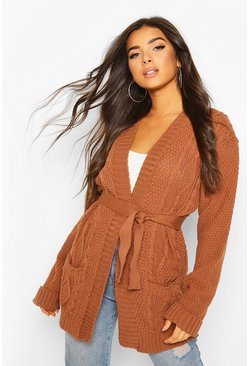 Toffee Cable Boyfriend Belted Cardigan