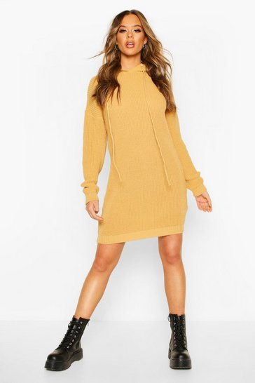 Womens Camel Hooded Knitted Mini Dress