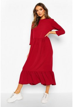 Woven Tiered 3/4 Sleeve Midi Smock Dress, Berry, DAMEN