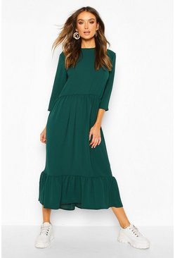 Woven Tiered 3/4 Sleeve Midi Smock Dress, Emerald, MUJER