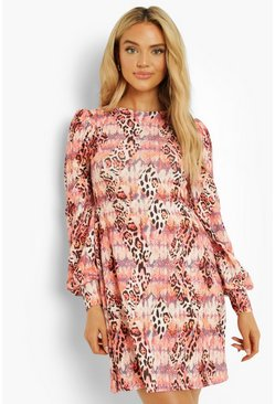 Animal Print Puff Sleeve Shift Dress, Stone, MUJER