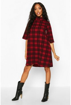 Berry Check Puff Shoulder Roll Neck Swing Dress