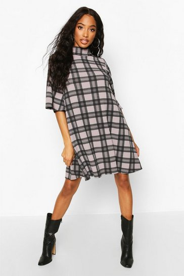 Womens Black Check Puff Shoulder Roll Neck Swing Dress