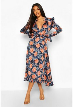 Blue Satin Mixed Rose Print Ruffle Midaxi Dress