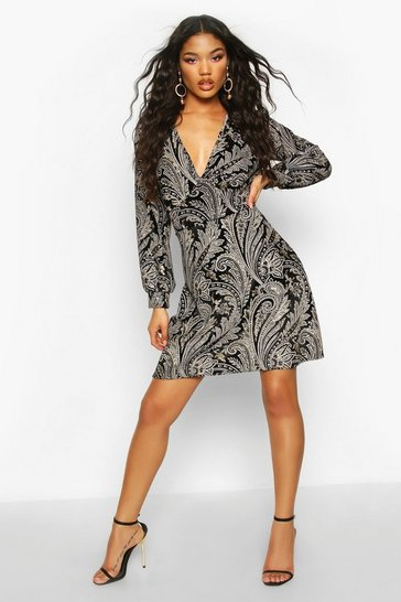 Black Velour Glitter Paisley Print Skater Dress