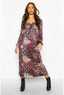 Black Mixed Floral Slinky Blouson Sleeve Midaxi Dress