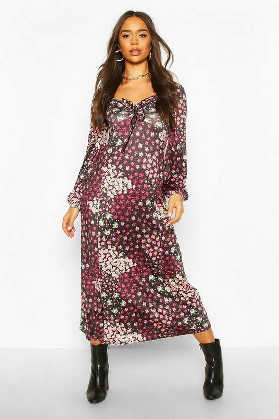 Mixed Floral Slinky Blouson Sleeve Midaxi Dress