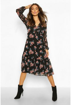 Chiffon Rose Print Midaxi Dress, Black