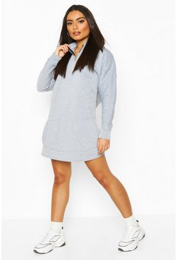 High Neck Zip Pocket Sweatshirt Dress, Grey