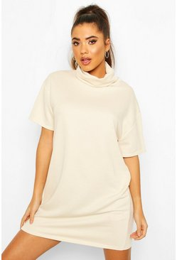 Roll Neck Slouchy Short Sleeve Sweatshirt Dress, Ecru, Donna
