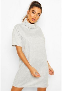 Womens Grey marl Roll Neck Slouchy Short Sleeve Sweatshirt Dress