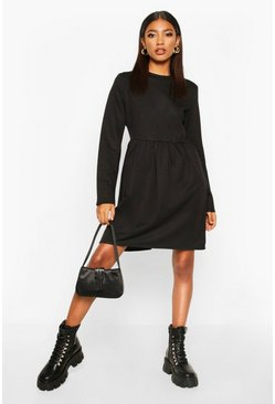 Womens Black Smock Sweatshirt Dress