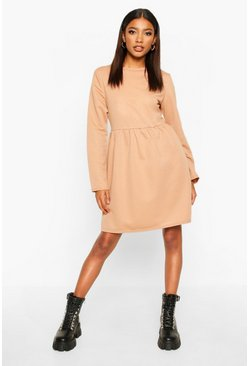 Womens Camel Smock Sweatshirt Dress