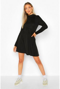 Womens Black High Neck Long Sleeve Smock Sweatshirt Dress