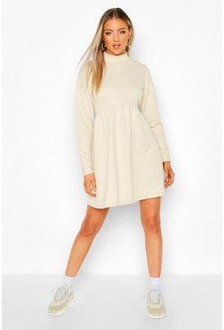 Womens Ecru High Neck Long Sleeve Smock Sweatshirt Dress