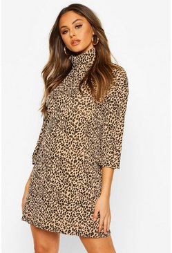 Leopard Rib Roll Neck T-shirt Dress, Camel