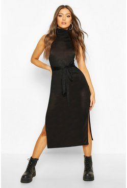 Marl Roll Neck Sleeveless Midaxi Dress, Black, FEMMES
