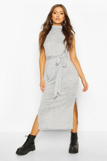 Womens Slate Marl Roll Neck Sleeveless Midaxi Dress