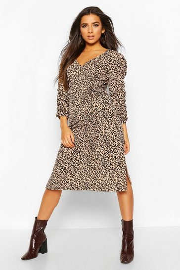 Camel Leopard Rib Ruched Sleeve Midi Dress