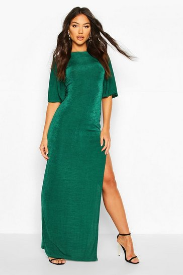 Bottle green Flute Sleeve Acetate Slinky Maxi Dress