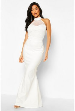 Dobby High Neck Maxi Dress, White, MUJER