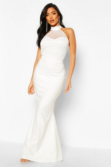 White Dobby Mesh High Neck Maxi Bridesmaid Dress