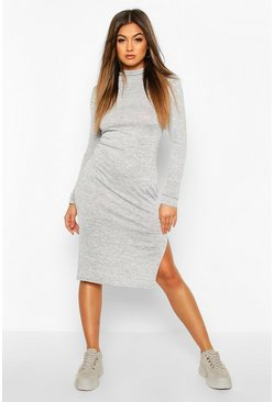 Womens Grey marl Marl High Neck Split Midi Dress