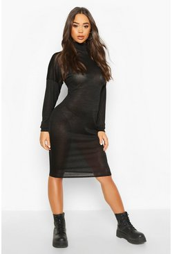 Womens Black Marl High Neck Midi Dress