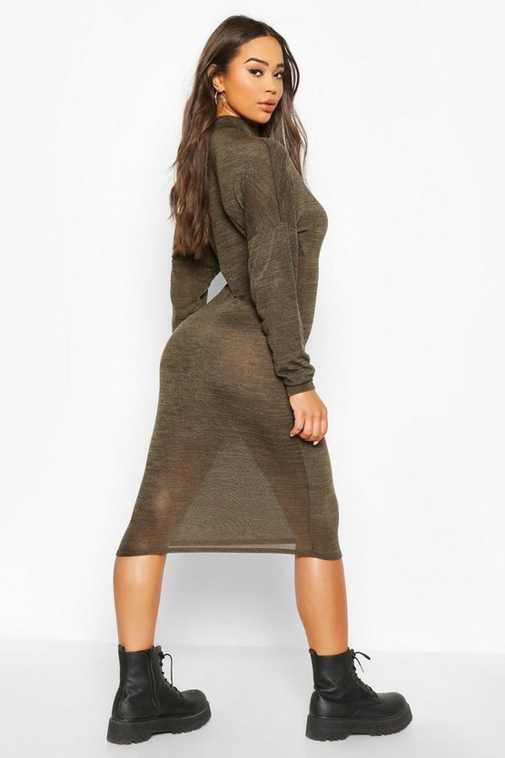 Marl High Neck Midi Dress