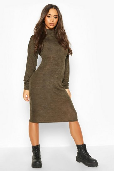 Womens Khaki Marl High Neck Midi Dress