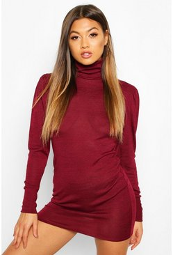 Burgundy Roll Neck Puff Sleeve Mini Dress