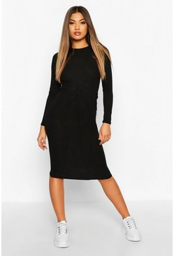 Marl Knot Front Long Sleeve Midi Dress, Black, Femme