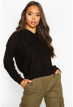 Boxy Scoop Neck Jumper, Black, DAMEN
