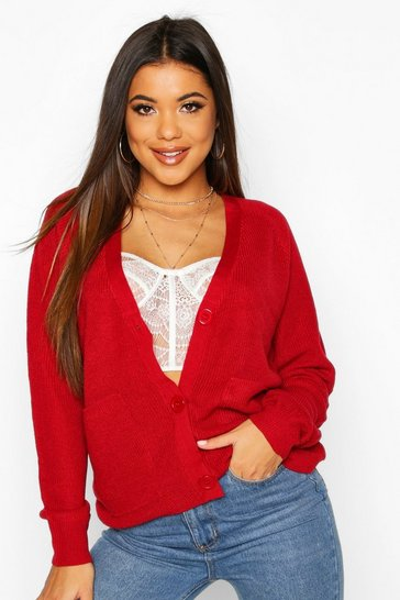 Red Lightweight Fisherman Rib Cardigan With Pockets