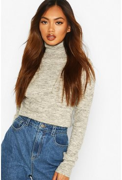 Ribbed Roll Neck Jumper, Silver grey, Femme