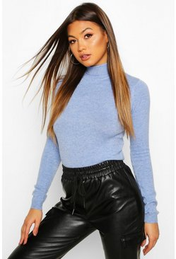 Soft Roll Neck Jumper, Blue, Femme