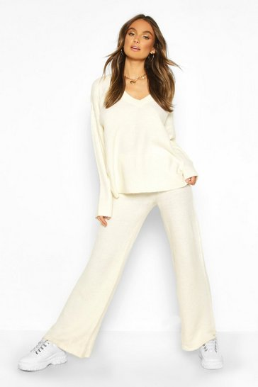 Womens Ivory Knitted V Neck Jumper & Trousers Set