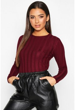 Ribbed Crew Neck Slim Fit Top, Berry, DAMEN