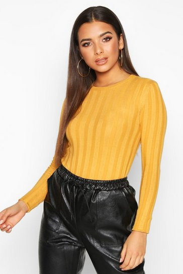 Womens Mustard Ribbed Crew Neck Slim Fit Top
