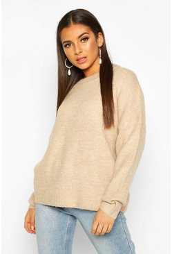 Womens Biscuit Oversized Drop Shoulder Jumper