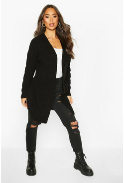 Womens Black Cable Knit Oversized Boyfriend Cardigan